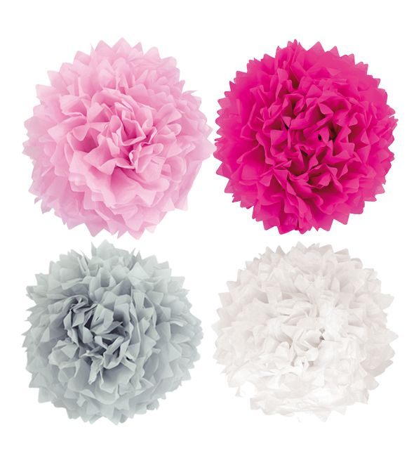 Pompons groß rosa grau weiß 4er Set