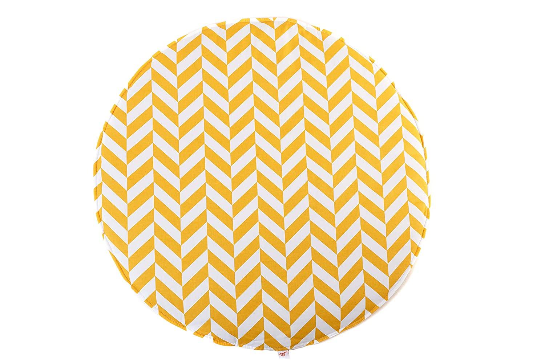 Krabbeldecke Spielmatte Zickzack rund gelb weiß ø100cm