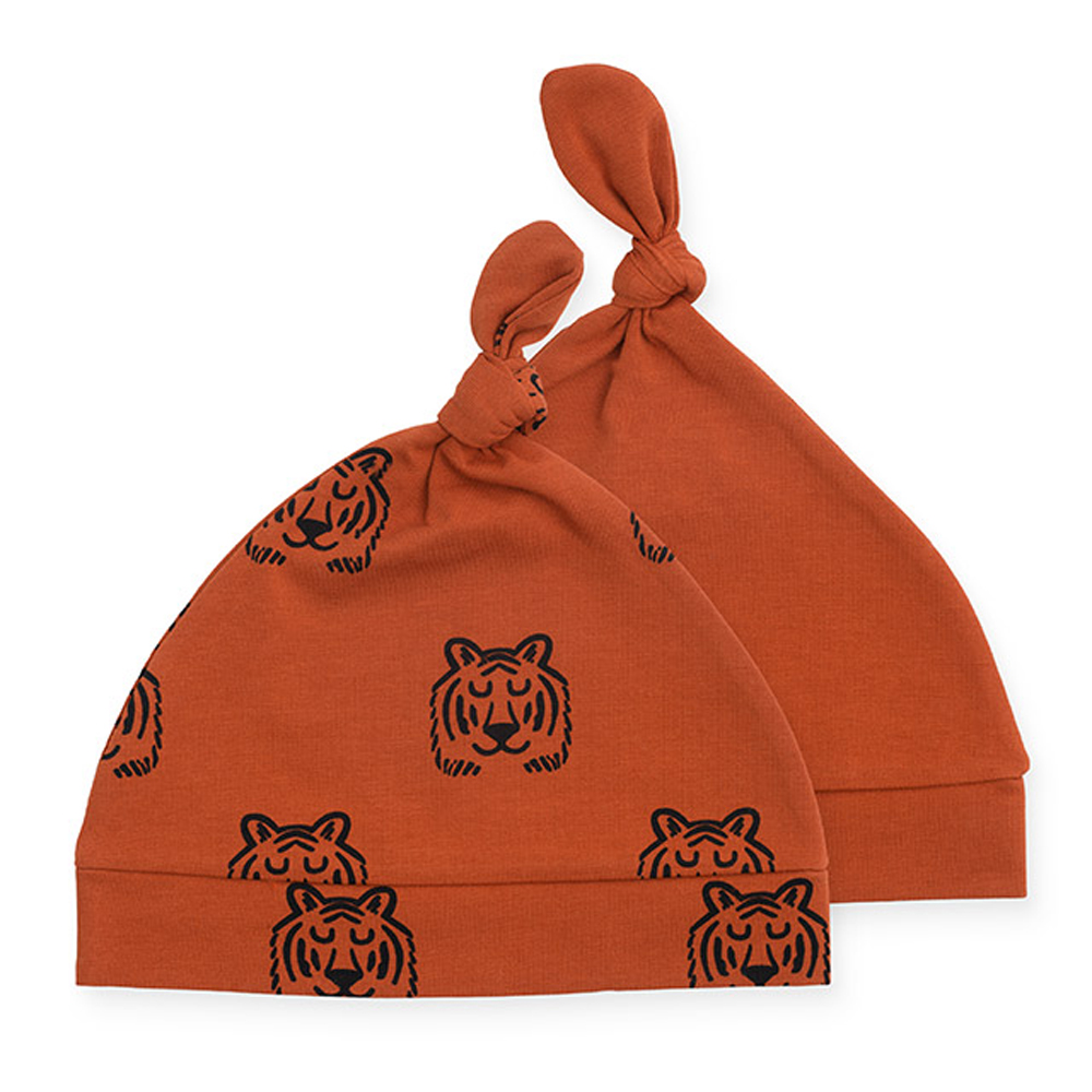 Jollein Baby Mütze Tiger rostrot orange 0-6 Monate 2er Set