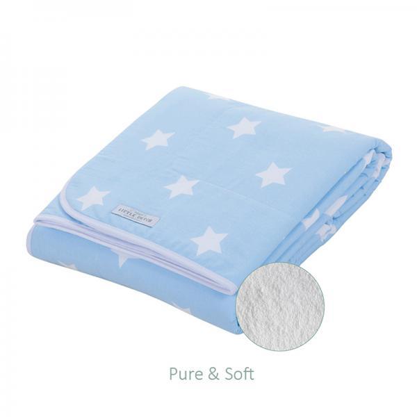 Babydecke mit Teddyfell hellblau mit weißen Sternen 70x100 cm