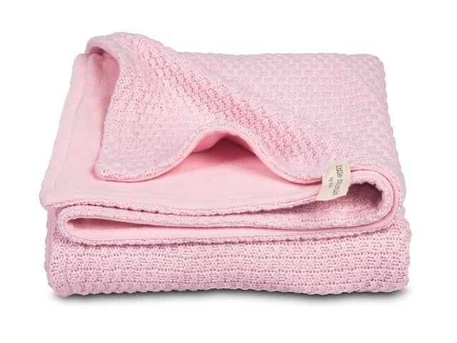 Babydecke Strickdecke mit Nickistoff 4 Jahreszeiten rosa (75x100 cm)