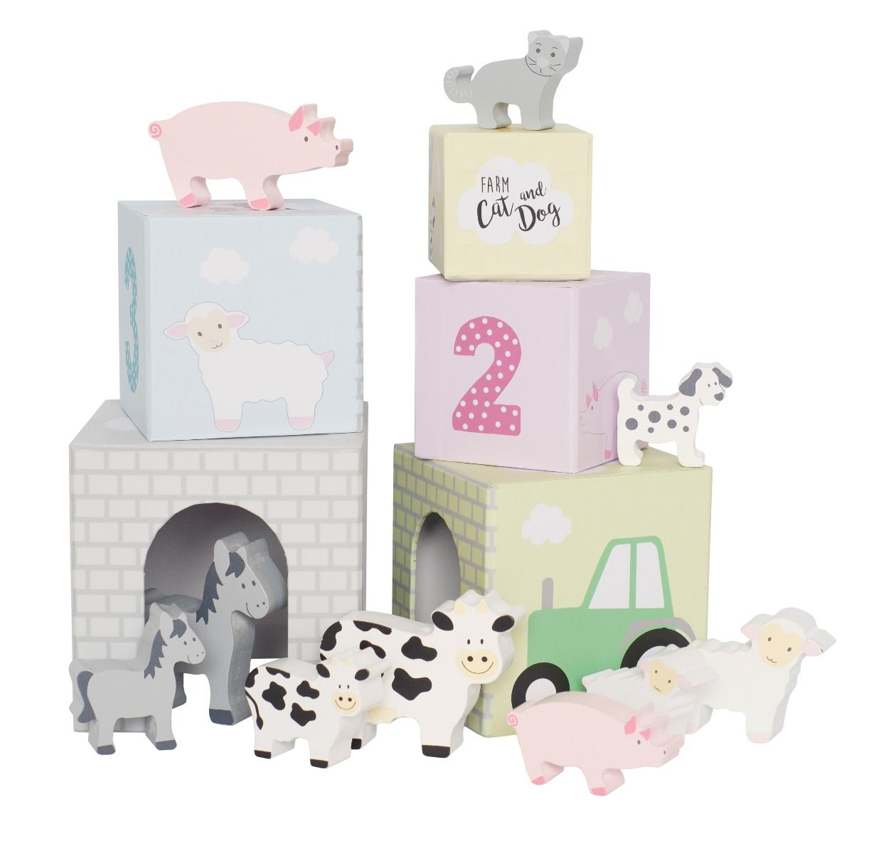 Stapelturm Bauernhof Tiere mit Figuren