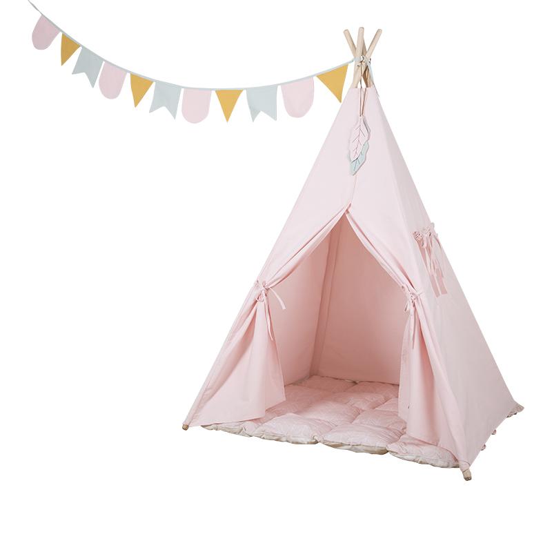 Spielzelt Tipi Zelt aus Stoff inkl. Matte und Wimpelkette rosa