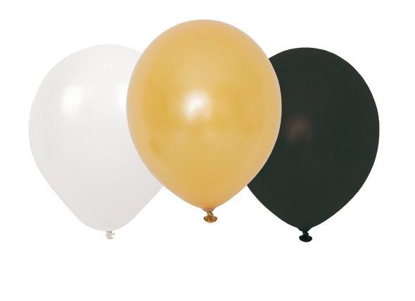 Luftballons gold schwarz weiß 3er Set