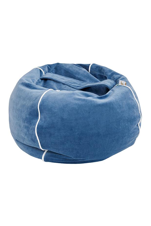 Samt Sitzsack Bubble blau 70x35 cm
