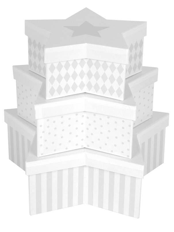 Aufbewahrungsboxen Sterne 3er Set grau