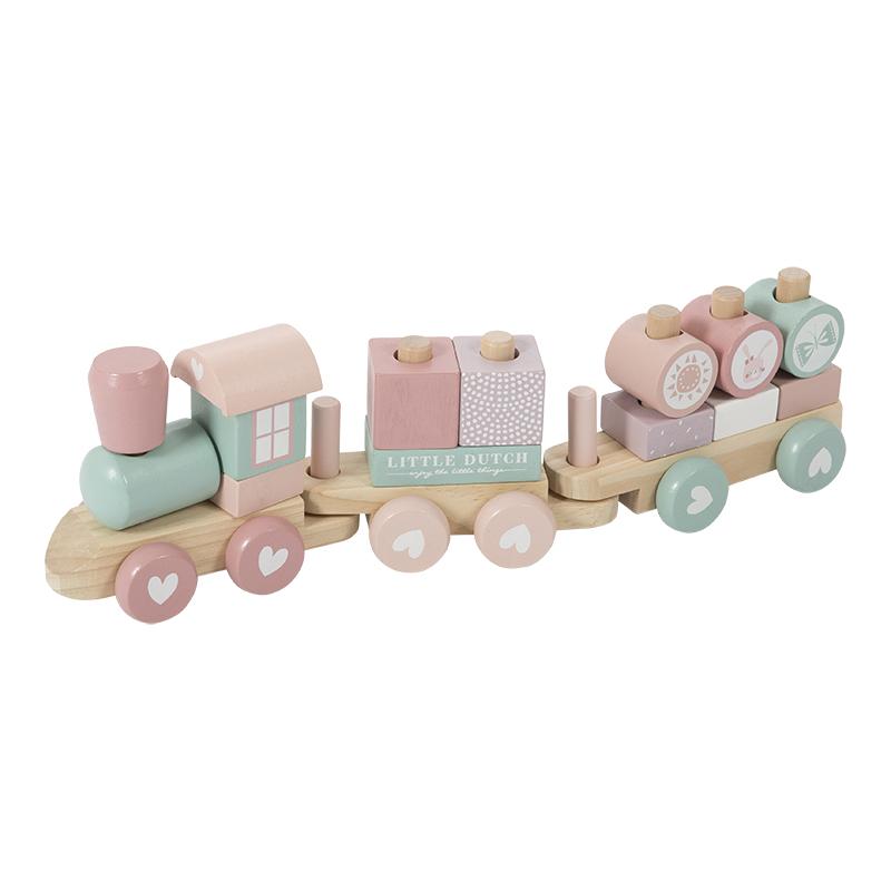 Holz Zug Eisenbahn mit Steckformen rosa mint