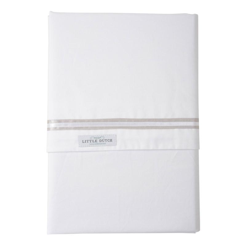 Kinderbettlaken weiß mit weißem und beigem Band 110x140cm