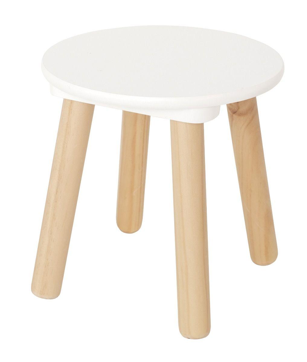 Holz Kinder-Hocker weiß natur