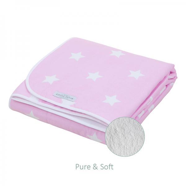 Babydecke mit Teddyfell rosa mit weißen Sternen 70x100 cm