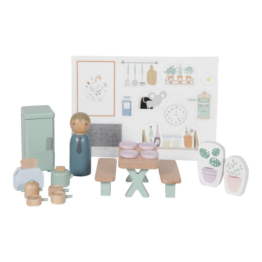 Holz Puppenhaus Zusatz Spielset Küche 19-teilig