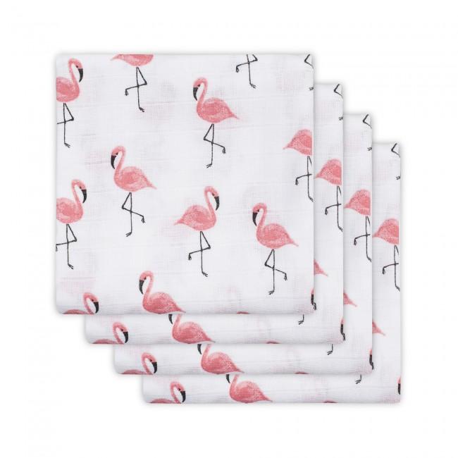 Mulltücher Mullwindeln Flamingo 70x70cm 4er Pack