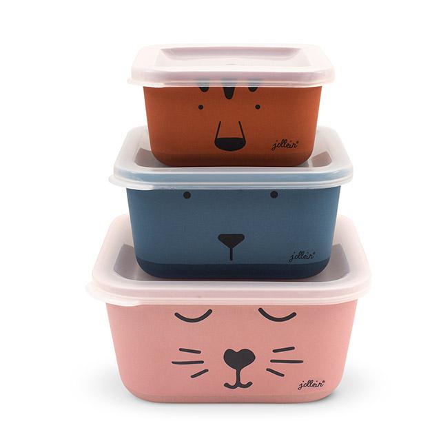 Bambus Snackboxen Dosen mit Deckel Animal Club Bären orange rosa blau 3er Set