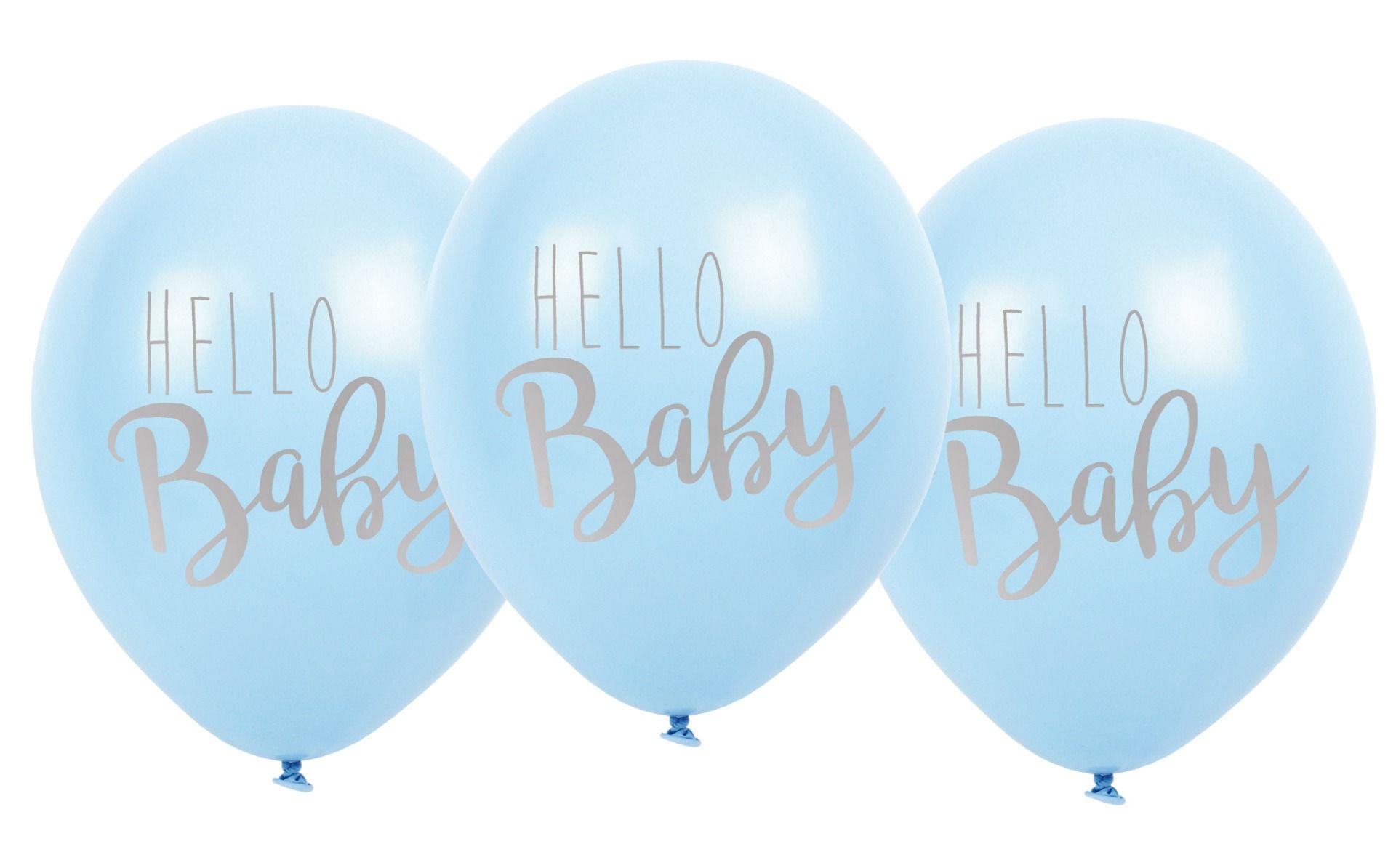 Luftballons Hello Baby hellblau 3er Set