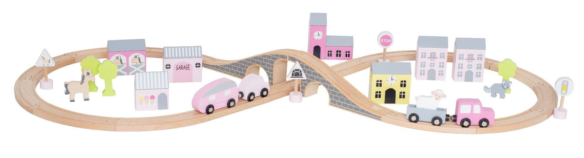 Holz Autobahn Spielset mit Straßen Schienen, Figuren und Tieren in Box rosa