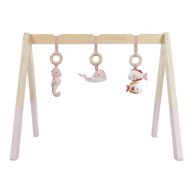 Holz Baby Gym Spieltrapez mit Stoff Anhängern Ocean rosa