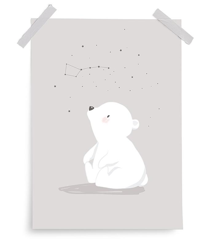 Poster Artic Dream Eisbär grau 30x40 cm