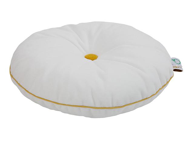 rundes Samt Kissen mit Knopf weiß gelb ø35 cm