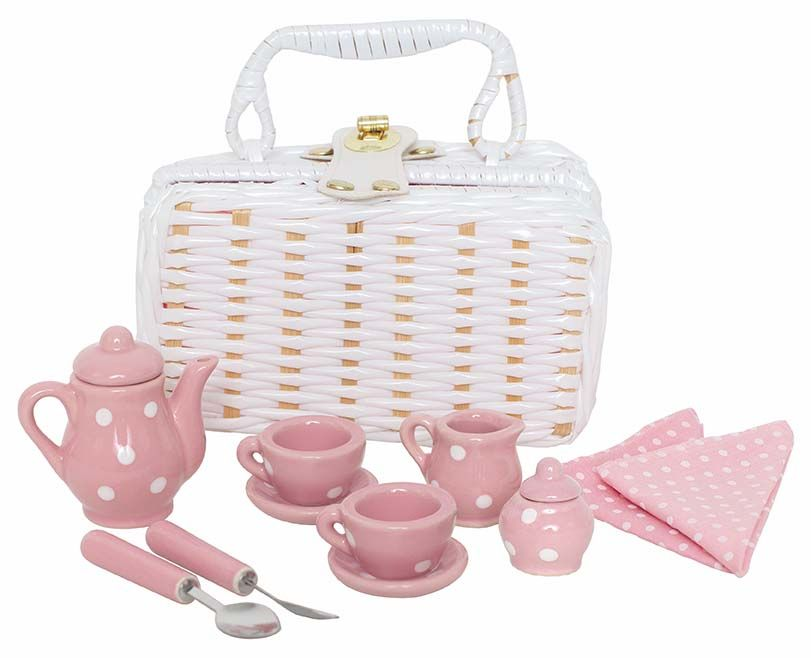 Porzellan Tee Set rosa mit Picknickkorb