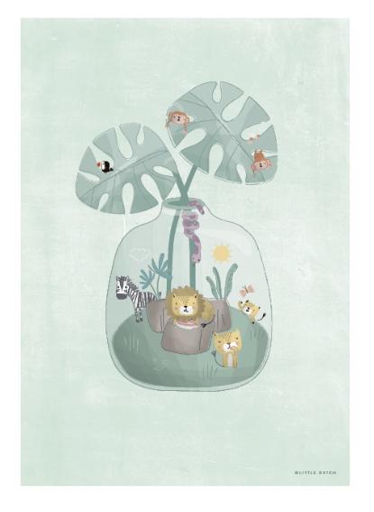 Poster doppelseitig bedruckt Mini Dschungelwelt A3