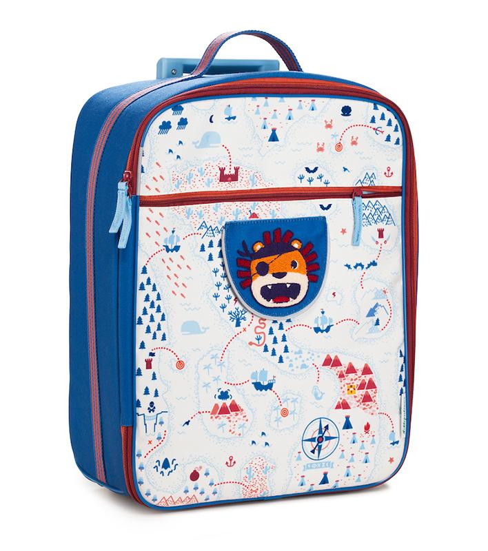 Koffer Trolley Piraten Jack Löwe blau weiß