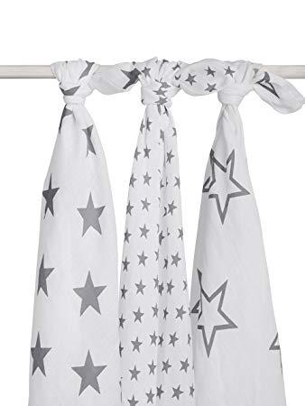 Mulltücher Swaddle Sterne anthrazit 115x115 cm 3er Pack