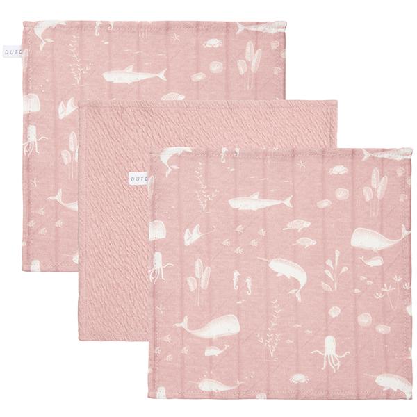 Spucktücher Mundtücher 3er Set Ocean rosa (Gr. 26x26 cm)