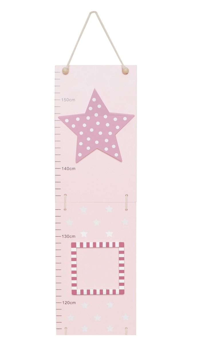 Holz Messlatte mit Bilderrahmen Sterne rosa 75-155 cm