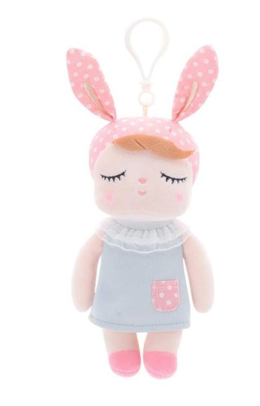 Mini Stoffpuppe Angela mit Anhänger grau 20 cm