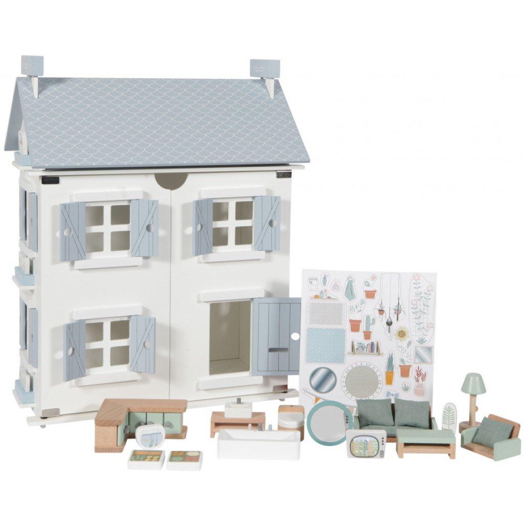 Holz Puppenhaus weiß blau mit Zubehör 20-teilig