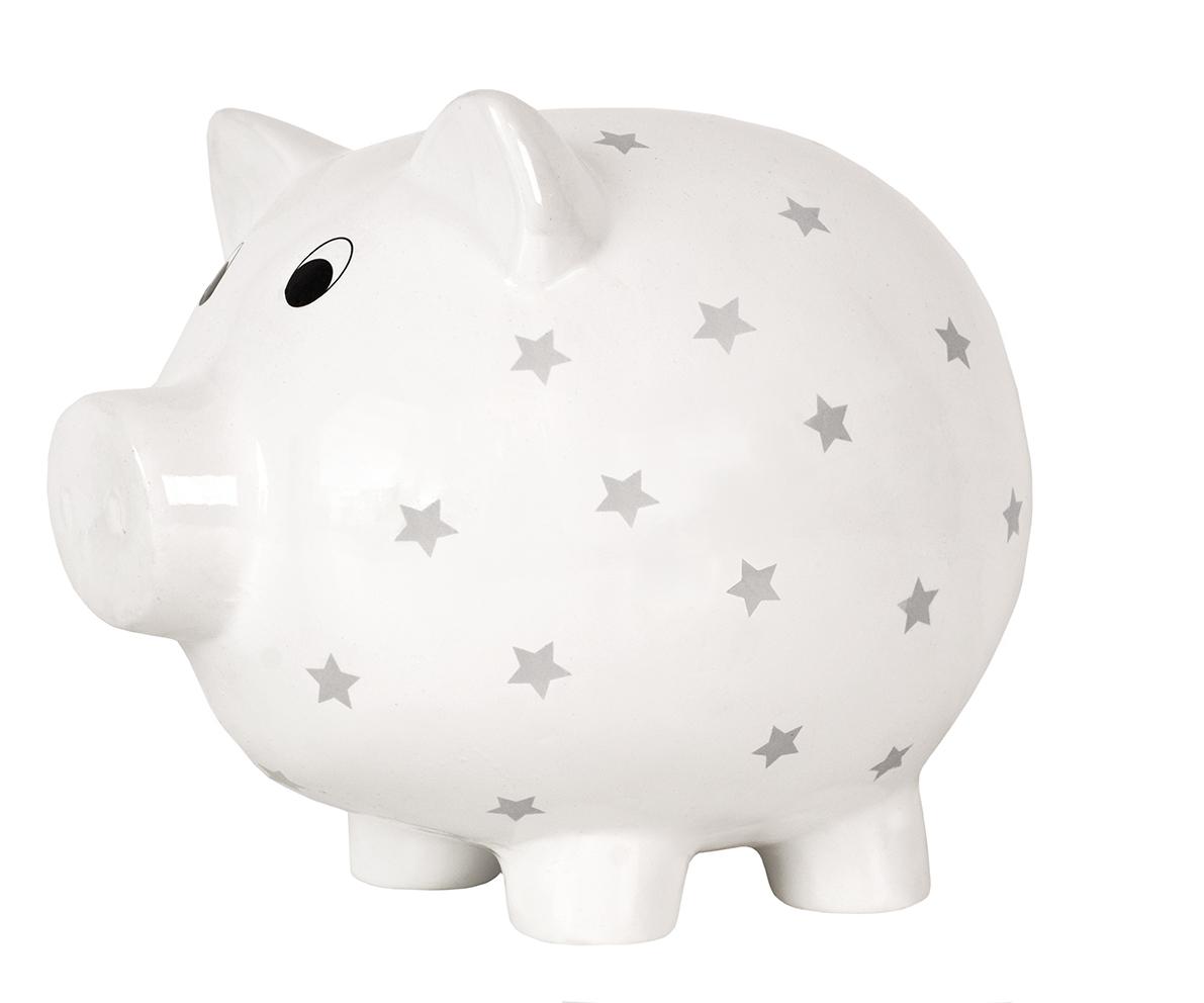 Sparschwein weiß mit grauen Sternen