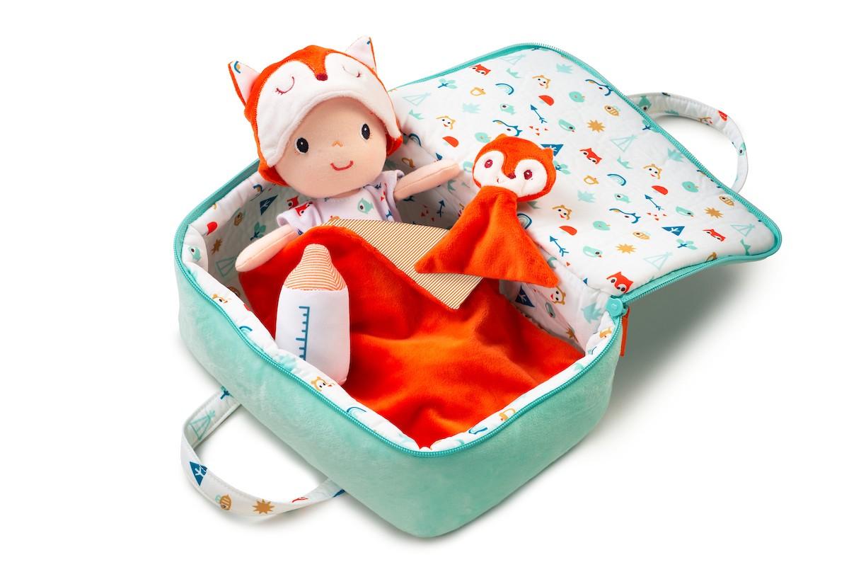 Stoffpuppe Baby Alex mit Zubehör und Spielkoffer