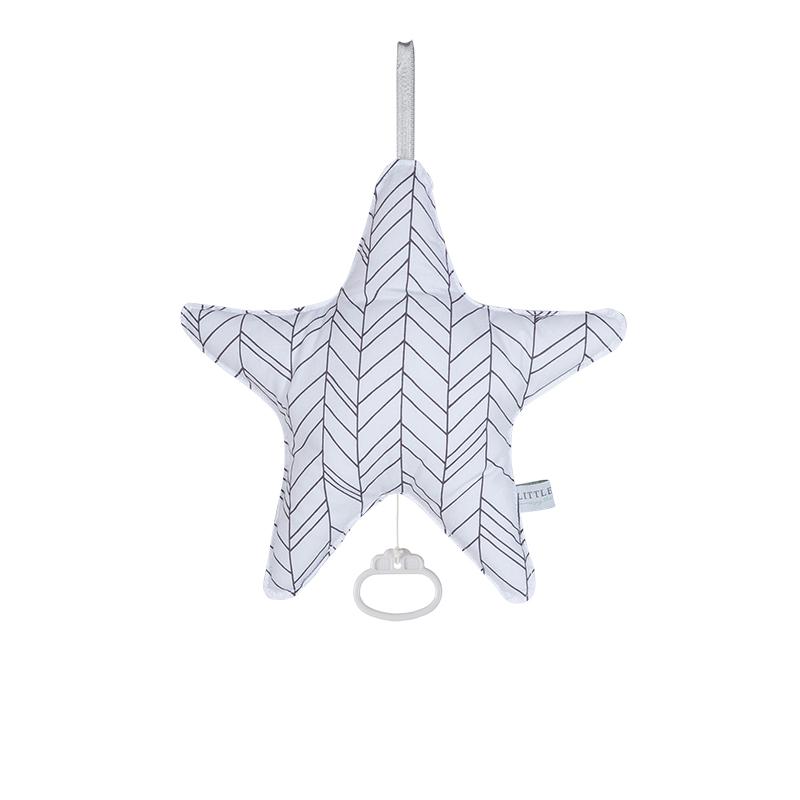 Spieluhr Stern Leaves weiß