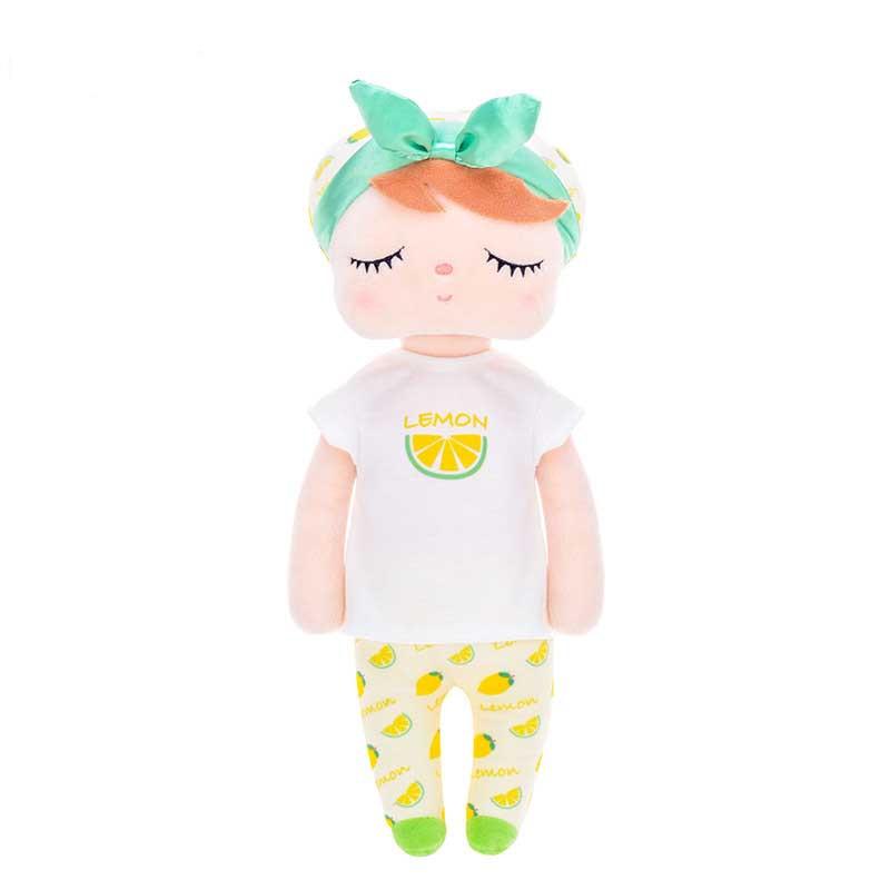 Stoffpuppe Schlummerpuppe Angela Zitrone Pyjama gelb 35 cm