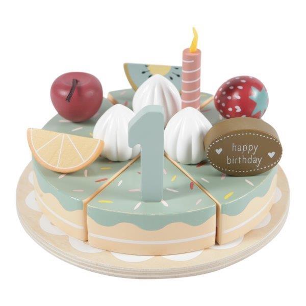 Holz Torte Geburtstagskuchen mit Zahlen und Kerzen
