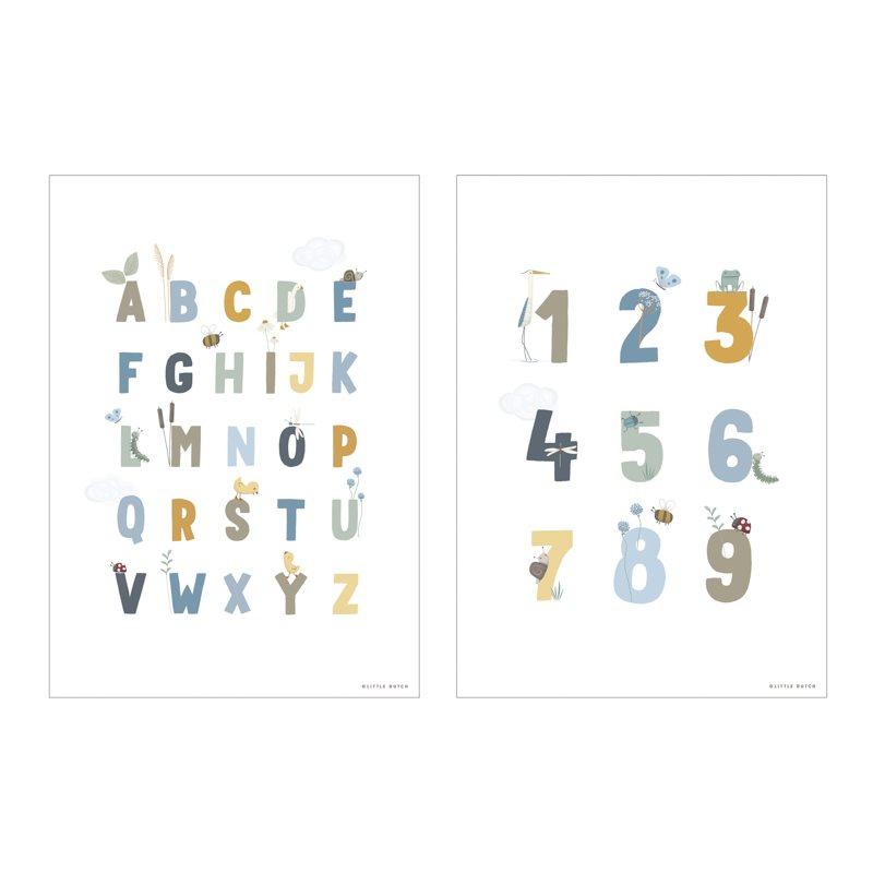 Poster A3 2 bedruckte Seiten Little Goose / kleine Gans ABC blau