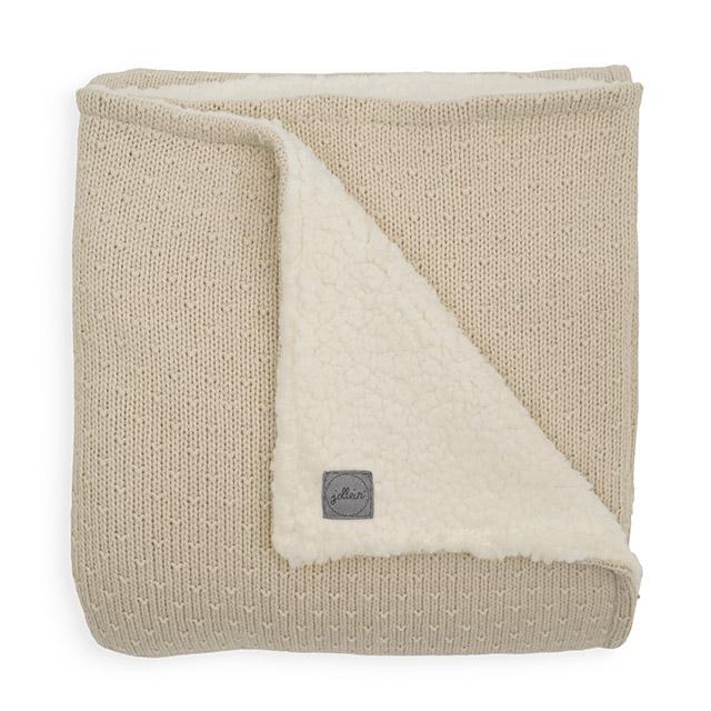 Baby Strickdecke mit Teddyfell Bliss Knit Nougat cremebeige (Gr. 75x100 cm)