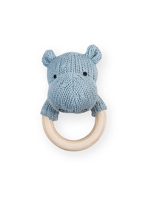 Rassel Strick Nilpferd mit Holz Beißring Soft Knit hellblau