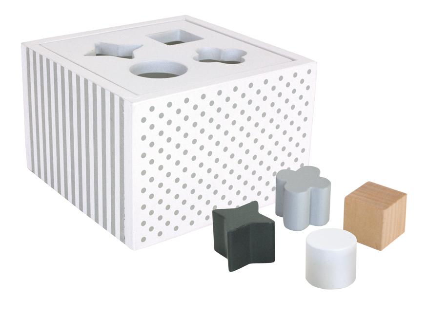 Holz Steckspiel Sortierbox weiß grau