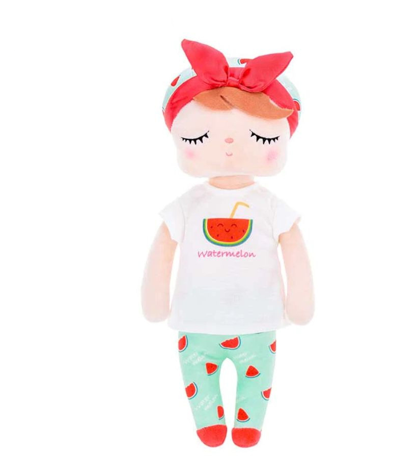 Stoffpuppe Schlummerpuppe Angela Wassermelone Pyjama rot grün 35 cm