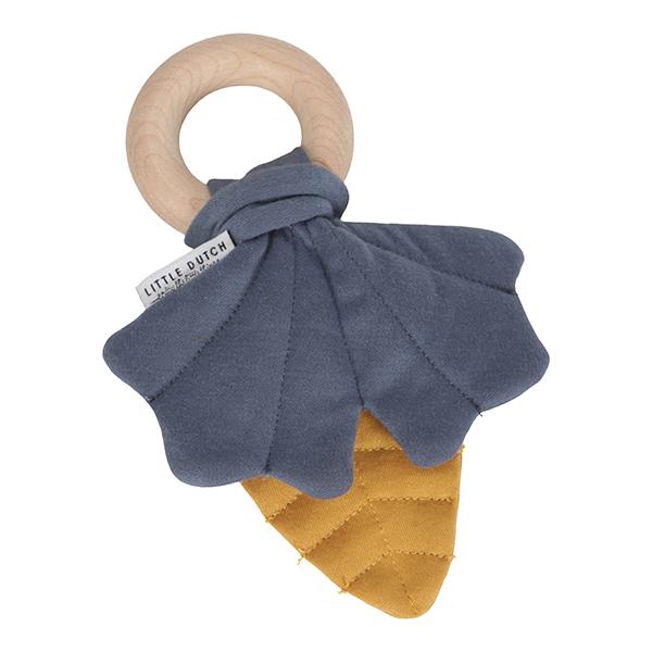 Greifling Beißring mit Knistertuch Blätter Pure & Nature Vintage blau gelb