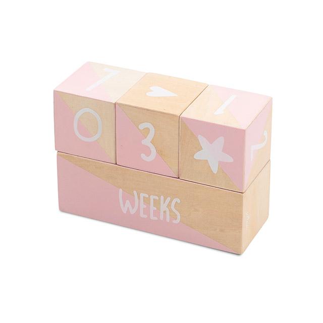 Jollein Holz Klötze Meilensteinblöcke Alter Baby Dekoration rosa