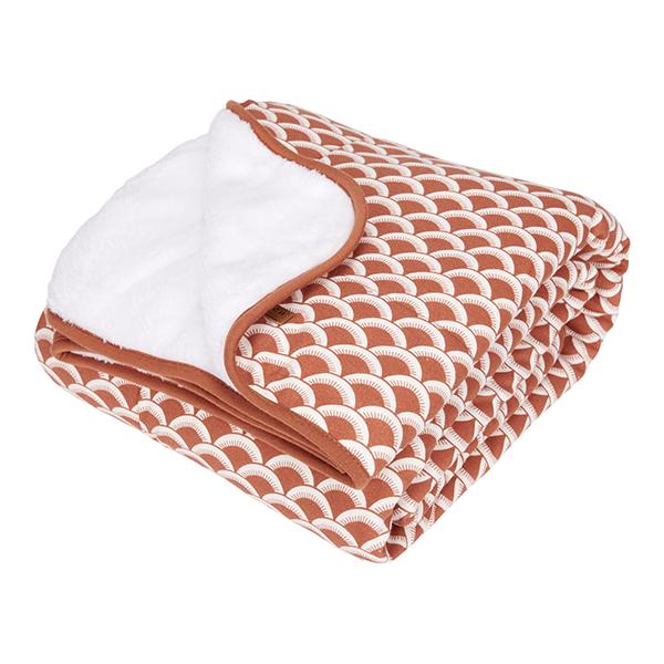 Babydecke mit Nickistoff Sunrise rost orangerot 70x100 cm