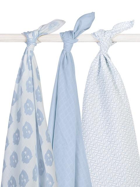 Mulltücher Swaddle Eule weiß blau 115x115 cm 3er Pack