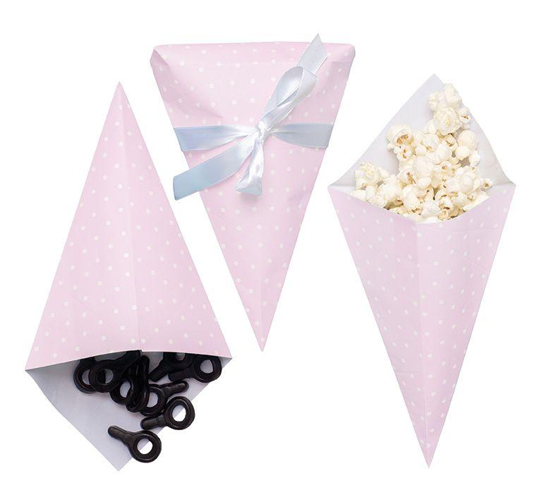 Partytüte Papiertüte für Süßigkeiten rosa 3er Set