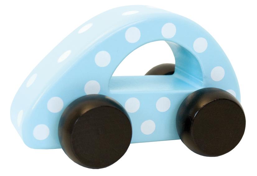 Holz Auto gepunktet blau