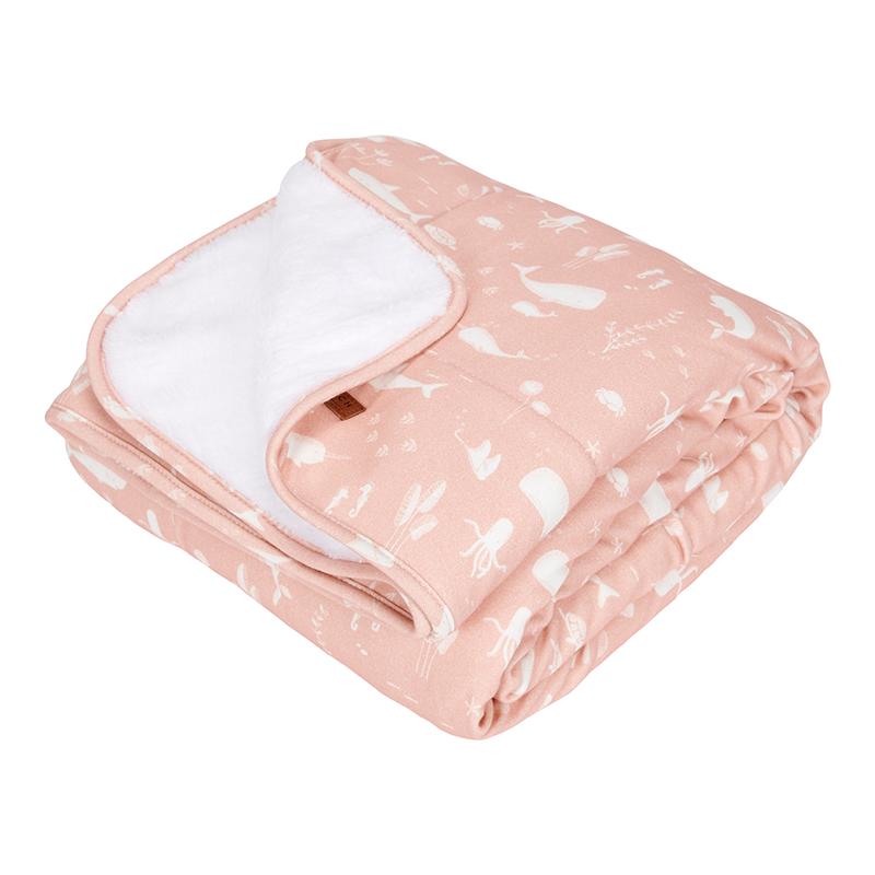 Babydecke mit Nickistoff Ocean rosa 70x100 cm