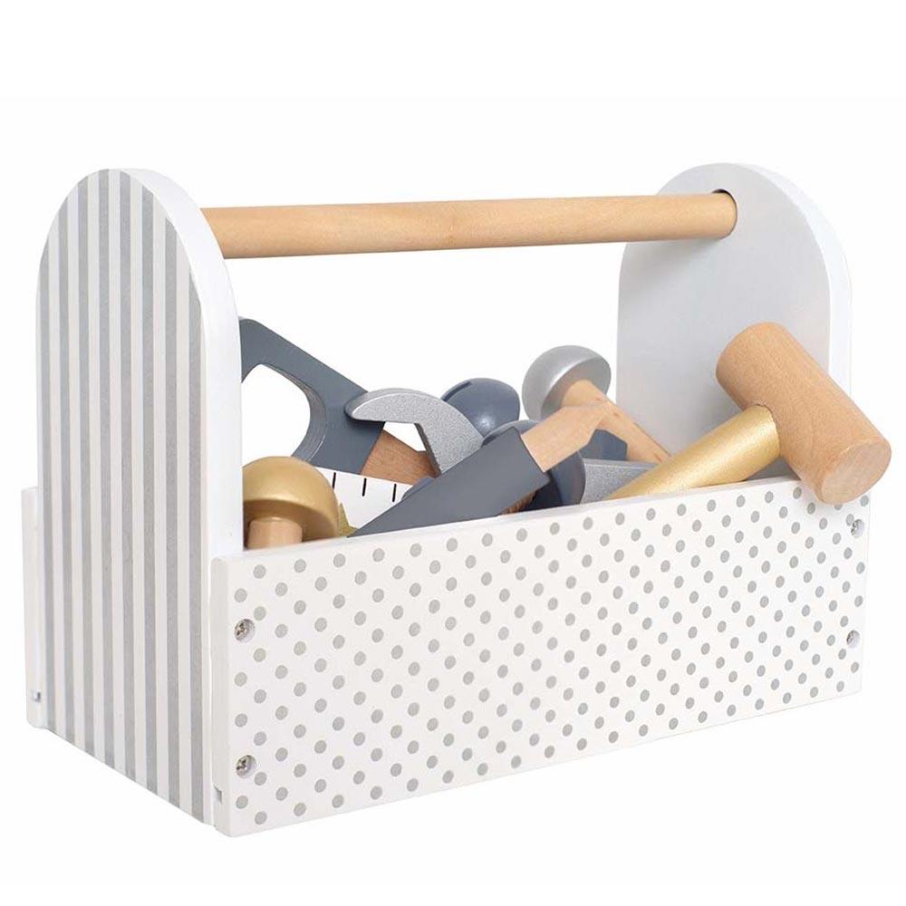 Holz Werkzeugkiste silber
