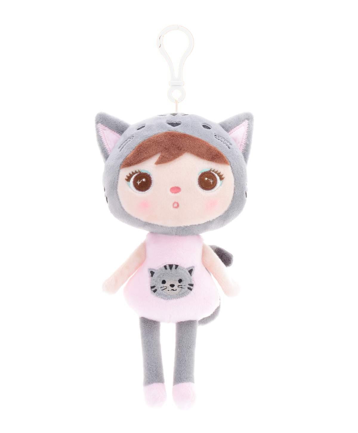 Mini Stoffpuppe Katzenmädchen mit Anhänger grau rosa 20 cm 1389-2-1