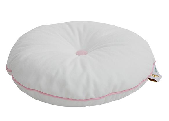 rundes Samt Kissen mit Knopf weiß rosa ø35 cm